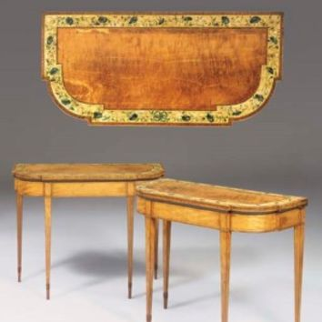 A PAIR OF GEORGE III POLYCHROME-DECORATED SATINWOOD CARD-TABLES , IN THE MANNER OF SEDDON, SONS & SHACKLETON