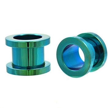 Pair of Green Titanium Plated Steel Screw Fit Ear Plugs Tunnels Gauges- 00G 10MM