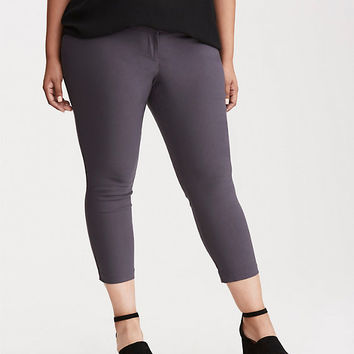 Skinny Cropped Trouser Pant - Charcoal Grey Deluxe Stretch