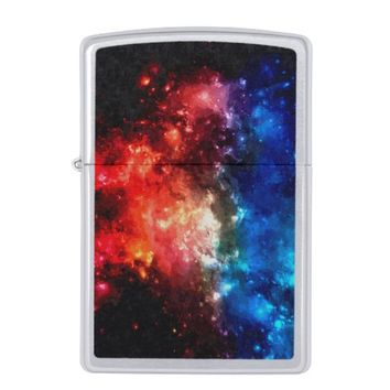 Red and blue, deep space galaxy, night sky zippo lighter