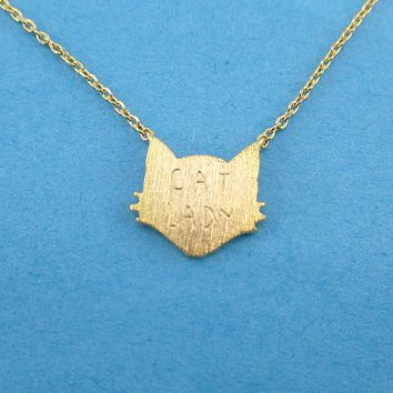 Proud Cat Lady Cat Face Shaped Pendant Necklace in Gold