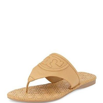Tory Burch Fleming Marion Quilted Flat Thong Sandal Blonde Beige Tan