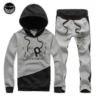 Men's Hoodie Sweatshirt Letter Print Pants Suit Set