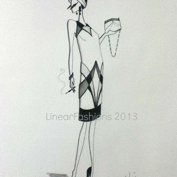 Fashion Illustration 1920s Flapper Art Decor Original Pencil Drawing