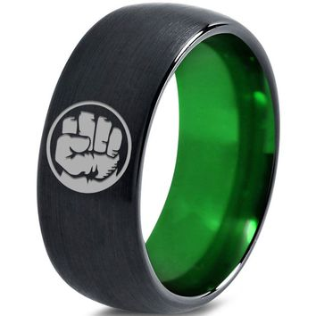 Incredible Hulk Inspired Green Silver Dome Cut Tungsten Ring
