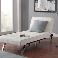 White Faux Leather Futon Sofa Bed Sleeper Lounger Chic Modern Chaise Couch
