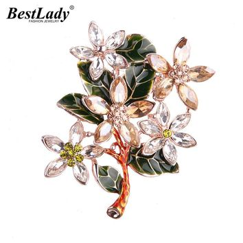 Best lady Luxury Bijoux Glass Crystal Leaf Flowers Brooches For Women Wedding Party Multi Color Boho Brooch Wholesale 5434