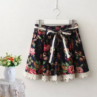 Floral Print Bow Tie Waist Lace Skirt