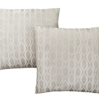 "PILLOW - 18""X 18"" TAUPE WAVE PATTERN 2PCS"