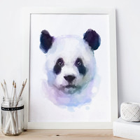 Panda print, panda Printable, panda decor, panda Watercolor panda nursery panda Painting, panda Wall Art panda woodland nursery animal art