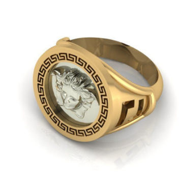 Men's gift, Signet ring, Men's ring, Engraved Ring 18K White in Yellow gold