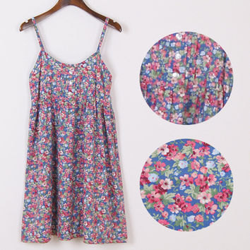 Fashion Summer Mori Girl Dress O Neck Sleeveless Print Floral Vestidos Women Sexy Beach Spaghetti Strap Dress