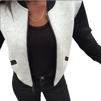 Women Spring Jacket 2016 Fashion Bomber Jacket Long Sleeve Black Gray Patchwork Baseball Jackets Stand Collar Slim Fit Outerwear