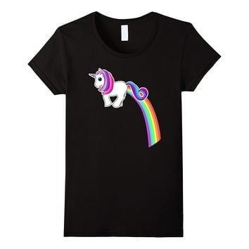Kawaii Unicorn Farting Rainbow Funny Tee Shirt