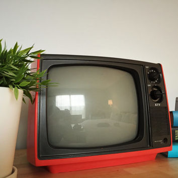 Vintage Red KTV Television Model 12UT (Black and White)