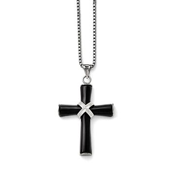 Men's Stainless Steel Polished Black Onyx Cross Necklace