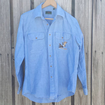 80s Vintage Abercrombie and Fitch Mallard Ducks Chambray Blue Long sleeve shirt L