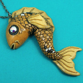 Tattoo Inspired Koi Fish Necklace
