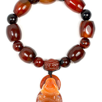 Mercy Buddha Red Carnelian Buddhist Prayer Bracelet,Buddha 35x 25x10 mm, Dark Himalayan Carnelian beads 20x12 mm