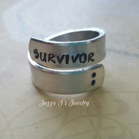 Survivor Hand Stamped Ring, Semicolon Ring, Adjustable Ring, Custom Twisted Ring, Wrap Ring, My Story Isn't Over Yet Ring, Inspirational