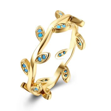 2017 Fashion Women Rings Gold/Black Color Tree Rattan Shape Blue Turquoises Gems Wedding Branch Rings For Women