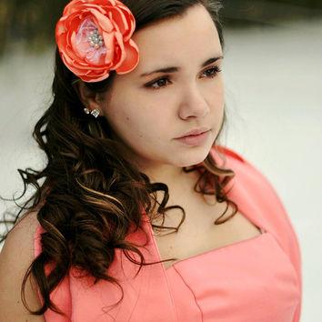 Coral Bridal Hair Flower CORA  Mint White Pearls White Lace Vintageinspired Fabric Flower Clip Brooch  Bridesmaids