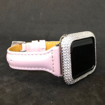 Apple Watch Band Leather 38mm/40mm 42mm/44mm Pink Smooth Slim Skinny  Womens Mens Series 1 2 3 4/Iced Out Bezel Case Cover Lab Diamonds Blin