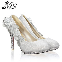 Bridal Evening Party Crystal High Heel 10cm Shoes Fashion Glitter Gorgeous Sexy Bride Flower Pumps Women Shoes Sparkly Zapatos