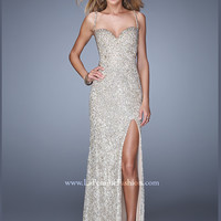 Spaghetti Strap With Open Back Floor Length With Slit La Femme Prom Dress 21036