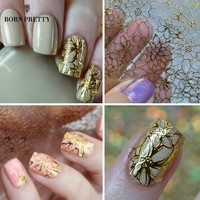 Embossed Blooming Flower 3D Nail Stickers Gold Adhesive Transfer Sticker Manicure 3D Nail Art Decals