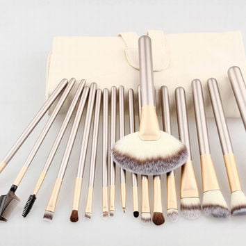 Fashion 18 Pcs Persia Fiber Hair Beige Makeup Brush Champagne Brush Handle Women's Cosmetic Brush Set