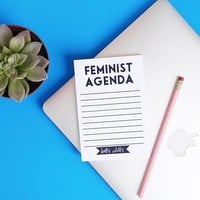 Feminist Agenda Notepad in black and white