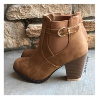 """Style and Flare"" Always Faithful Buckle Strap Tan Heel Bootie Boots"
