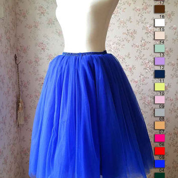 Cobalt Blue Skirt/Tulle Skirt Fluffy 7 layere Tutu Petticoat/Tea Tulle Skirt Midi Skirt /Any Size Tulle Skirt /Cobalt Tutu /Wedding(T1827)