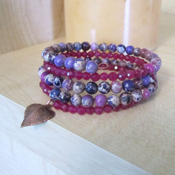 Jasper and Agate Memory Bracelet  Purple by 636designs on Etsy