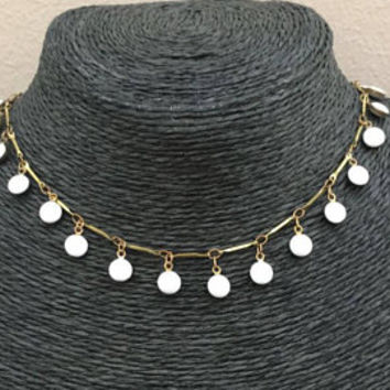Dangling Beads Choker White or Black Beads Antique Gold Chain