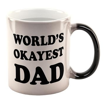 Father's Day World's Okayest Dad All Over Heat Changing Coffee Mug