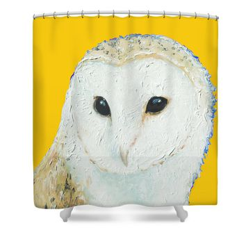 Barn owl on yellow background for the nursery Shower Curtain