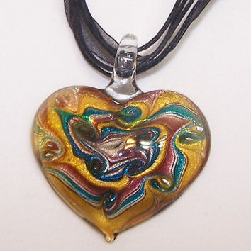 Dichroic, Glass, Heart, Pendant, Necklace, Exquisite, Gold, Silver, Blue, Purple, Swirls