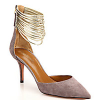 Aquazzura - Hello Lover Suede & Calf Hair T-Strap Pumps - Saks Fifth Avenue Mobile