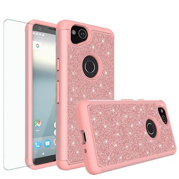 Google Pixel 2 Case, Pixel 2 Glitter Bling Heavy Duty Shock Proof Hybrid Case with [HD Screen Protector] Dual Layer Protective Phone Case Cover for Google Pixel 2 - Rose Gold