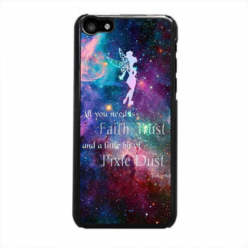 tinkerbell flying galaxy quote iphone 5c 5 5s 4 4s 6 6s plus cases