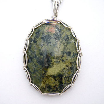 Gorgeous olive green Unakite Pendant wrapped in Sterling Silver Wire - Viking Weave Bezel - with Free Chain