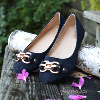 Gone With The Wind Black Gold Buckle Flats