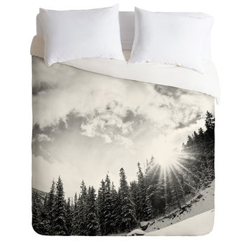 Bird Wanna Whistle White Mountain Duvet Cover