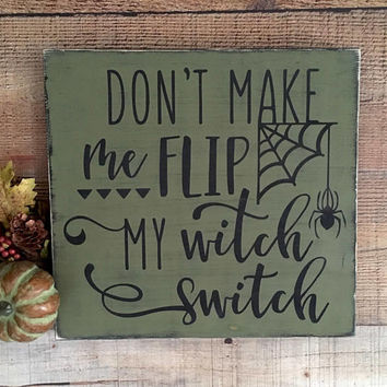 Witch Decor, Witch Halloween Decor,Halloween witch sign, Witch Signs, Witch Switch sign, Green Halloween Decor, Halloween Party Decorations