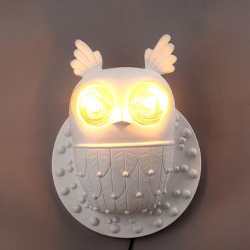 Loft Sconce Wall Lights Fixture Bathroom Stair Beside Wall Lamp Design White Resin OWL Art Decor Indoor Home Lighting E27 220V