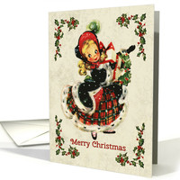 Vintage Girl Illustration with Holly for Christmas card