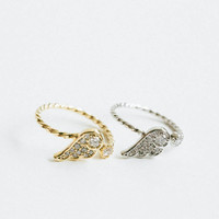 cz angle wing twisted ring,angel knuckle ring,adjustable ring,angel ring,knuckle ring,gold angel wing ring, silver angel wing ring,USADR82