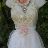 Lace wedding dress cotton satin white cream by vintageopulence
